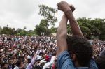 Oromo protesters demonstrate in the Ethiopian town of Bishoftu on October 1. (Zacharias Abubeker/AFP/Getty Images)