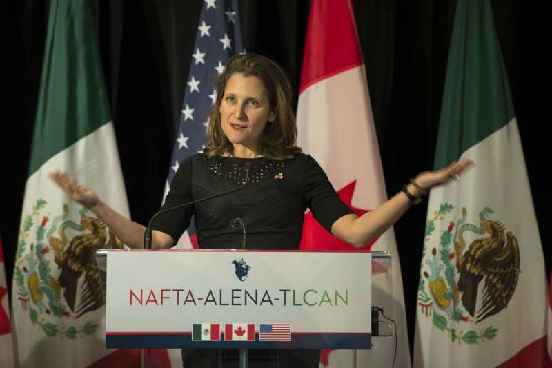 Canadian Foreign Affairs minister Chrystia Freeland speaks after the close of the sixth round of NAFTA meetings, Jan. 29, 2018. (Peter McCabe/AFP/Getty Images)