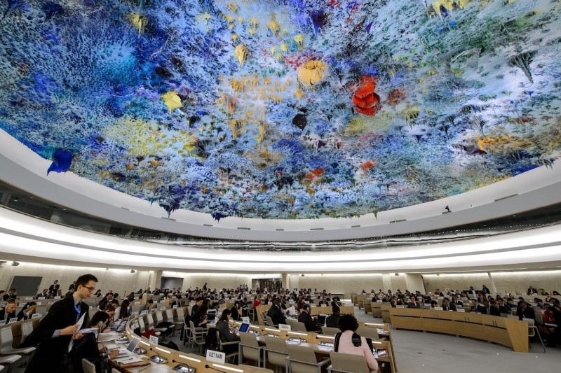 The U.N. Human Rights Council chambers in Geneva on March 24, 2014. (Fabrice Coffrini/AFP/Getty Images)