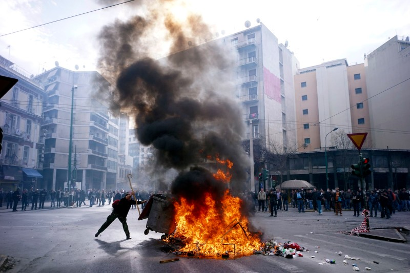 Protests against planned pension reforms in Athens on Feb. 12, 2016. (Milos Bicanski/Getty Images)
