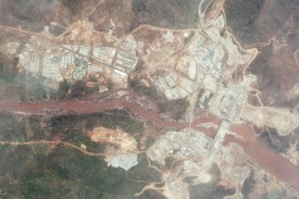 The Grand Ethiopian Renaissance Dam, currently under construction, on May 15, 2016.  (DigitalGlobe via Getty Images)