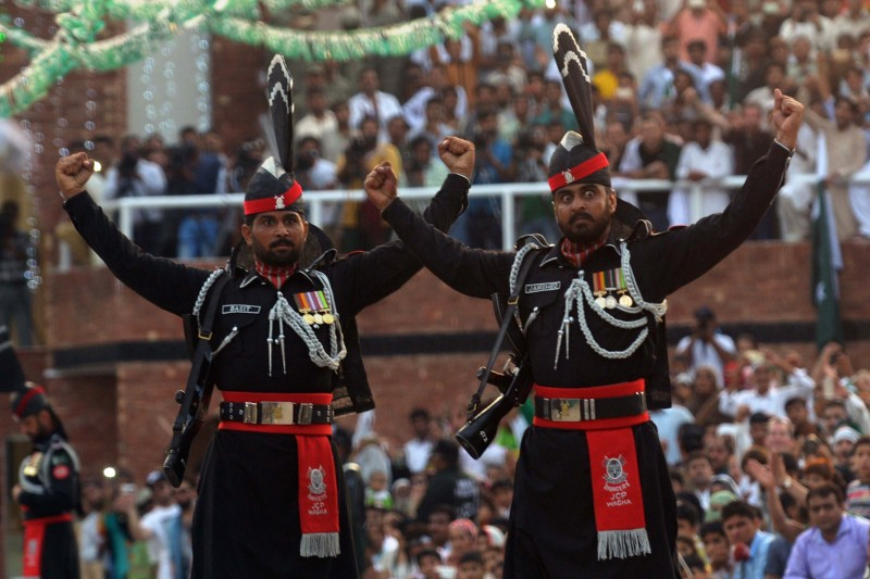 Pakistani Rangers at the India-Pakistan Wagah Border Post on August 14, 2016. (Narinder Nanu/AFP/Getty Images)