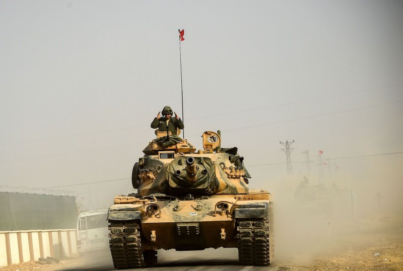 A Turkish tank on the Syrian-Turkish border on Aug. 25, 2016. (Bulent Kilic/AFP/Getty Images)