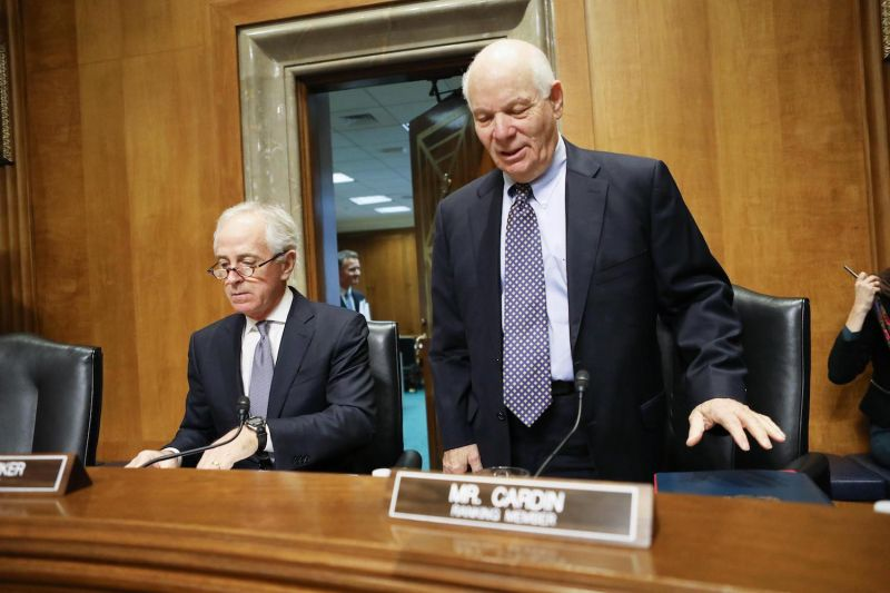 Sen. Bob Corker (left) and Sen. Ben Cardin prepare to listen to testimony at a Senate Foreign Relations Committee hearing on the U.S.-Russia relationship, on Feb. 9, 2017. (Mario Tama/Getty Images)
