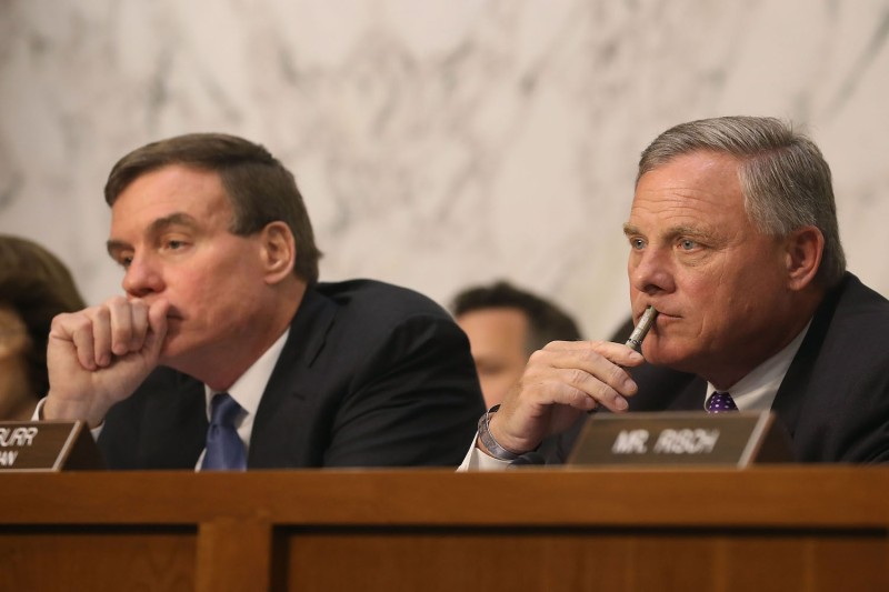Chairman Richard Burr (R-NC) and ranking member Sen. Mark Warner (D-VA)  of the Senate Intelligence Committee listen to testimony from Intelligence officials in the Hart Senate Office Building on Capitol Hill on June 7, 2017 in Washington, DC. (Mark Wilson/Getty Images)