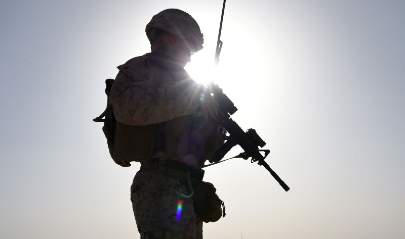 A U.S. Marine in a combat training exercise in Afghanistan on August 27, 2017. (Wakil Koshar/AFP/Getty Images)