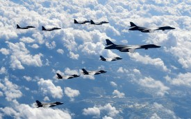 U.S. Air Force B-1B Lancer bombers flying with F-35B fighter jets and South Korean Air Force F-15K fighter jets on September 18, 2017 in Gangwon-do, South Korea. (Getty Images)