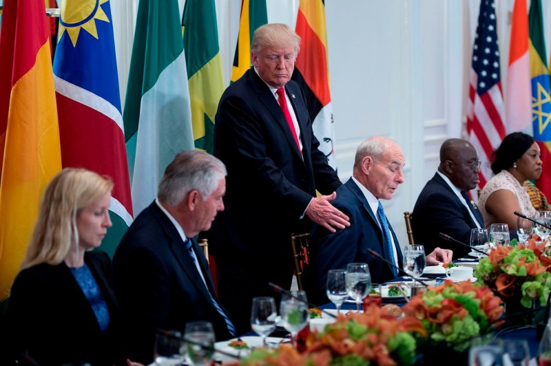 President Donald Trump attends a luncheon with U.S. and African leaders at the 72nd United Nations General Assembly on Sept. 20, 2017 in New York. (Brendan Smialowski      /AFP/Getty Images)