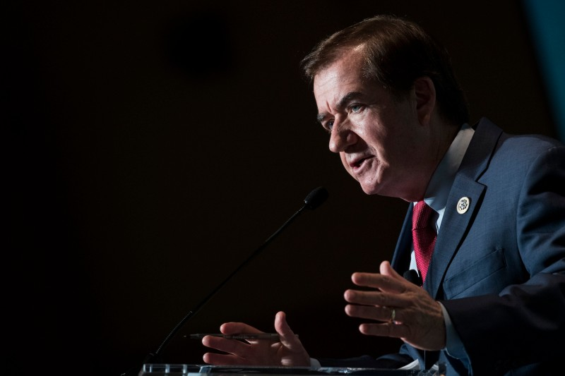 Rep. Ed Royce speaks during a conference on countering violent extremism, in Washington, D.C., on Oct. 23, 2017. (Drew Angerer/Getty Images)