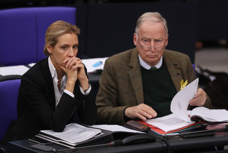 Alice Weidel and Alexander Gauland of the right-wing Alternative for Germany (AfD) on November 22, 2017 in the Bundestag. (Sean Gallup/Getty Images)