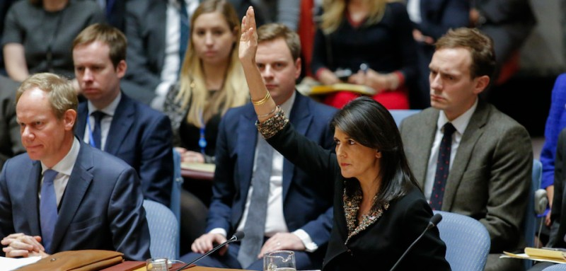 US Ambassador to the UN Nikki Haley cast lone U.S. veto to block resolution on Jerusalem on December 18, 2017, at UN Headquarters in New York. (Ken Betancur / AFP/Getty Images)