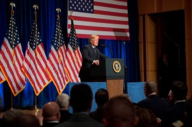 U.S. President Donald Trump discusses his administration's National Security Strategy in Washington on Dec. 18, 2017. (Saul Loeb/AFP/Getty Images)