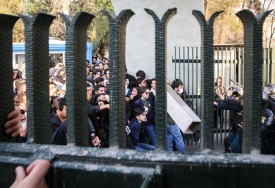 Iranian students scuffle with police at the University of Tehran during a demonstration on Dec. 30, 2017.(Stringer/AFP/Getty Images)
