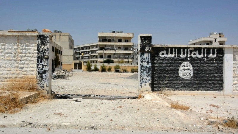 A school that was used by the Islamic State's fighters in the northern Syrian town of Manbij. (STR/AFP/Getty Images)