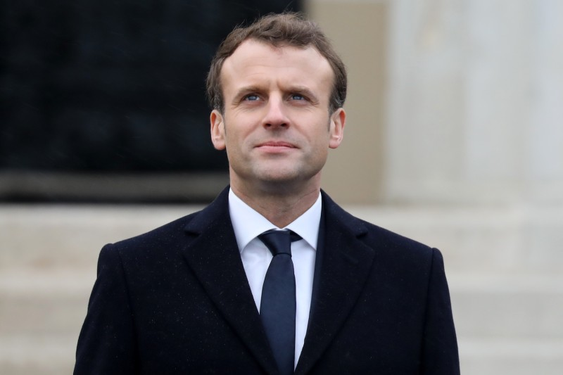 French President Emmanuel Macron attends a ceremony at the Royal Military Academy Sandhurst, west of London on Jan. 18. (Ludovic Marin/AFP/Getty Images)
