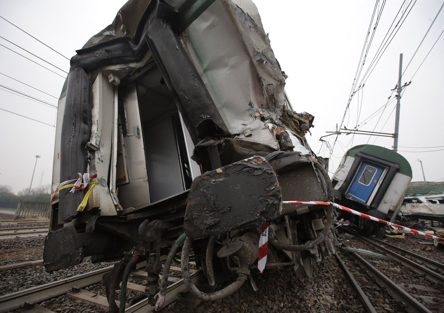 A general view of a destroyed commuter train that derailed close to Pioltello Limito station during morning rush hour on January 25, 2018 in Milan, Italy. Three people have died as a result and ten people ae seriosuly injured. (Photo by Emilio Andreoli/Getty Images)