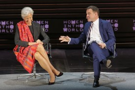 International Monetary Fund Managing Director Christine Lagarde and historian Niall Ferguson speak onstage during Tina Brown's 7th Annual Women In The World Summit in New York City, on Apr. 7, 2016. (Jemal Countess/Getty Images)