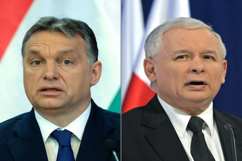 Hungarian Prime Minister Viktor Orban, left, and Jaroslaw Kaczynski, right, leader of Poland's Law and Justice party. (Attila Kisbenedek, Janek Skarzynski/AFP/Getty Images)
