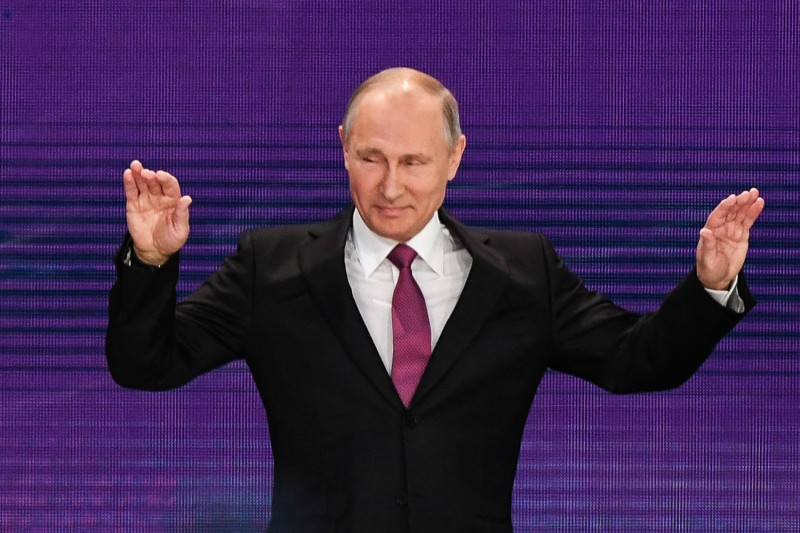 Vladimir Putin arrives to give a speech in Dec. 2017. (KIRILL KUDRYAVTSEV/AFP/Getty Images)