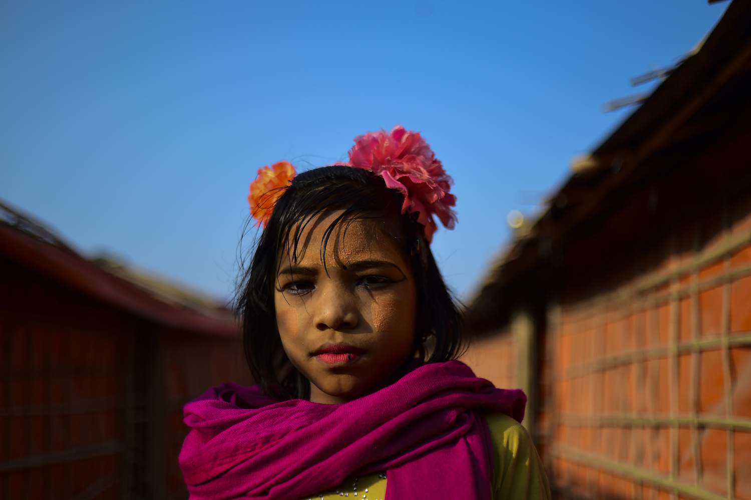 "A Rohingya refugee girl poses for a photo at Balukhali refugee camp in Bangladesh's Ukhia district on Jan. 26. The repatriation of hundreds of thousands of Rohingya Muslims who fled violence in Myanmar will not begin as planned, Bangladesh said on January 22, with authorities admitting ""a lot of preparation"" was still needed. / AFP PHOTO / Munir UZ ZAMAN        (Photo credit should read MUNIR UZ ZAMAN/AFP/Getty Images)"
