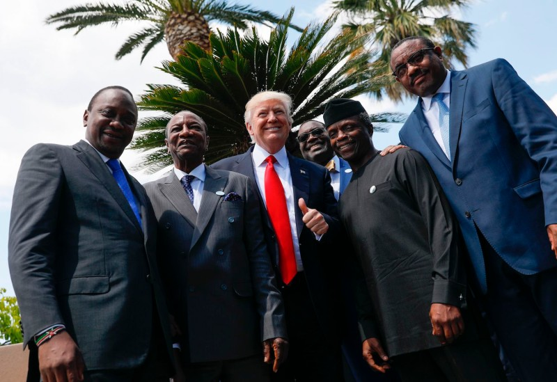 African leaders and U.S. President Donald Trump pose during the G-7 Summit on May 27, 2017 in Taormina, Sicily. (Jonathan Ernst/AFP/Getty Images)