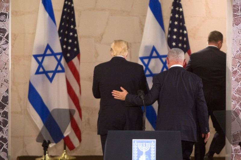 President Donald Trump and Israel's Prime Minister Benjamin Netanyahu leave after delivering a speech during a visit to the Israel Museum on May 23, 2017.