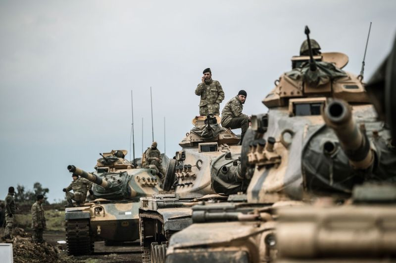 Turkish army tanks gather close to the Syrian border on January 21, 2018 at Hassa, in Hatay province.