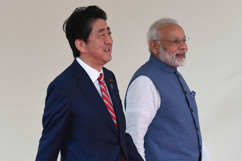 Japanese Prime Minister Shinzo Abe and Indian Prime Minister Narendra Modi prior to a bilateral meeting in Ahmedabad, India, on Sept. 14, 2017. (Prakash Singh/AFP/Getty Images)