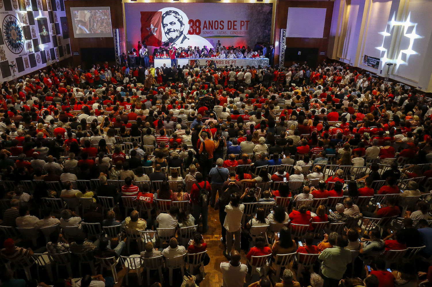 General view of the commemoration of the 38th anniversary of the Workers Party (PT) in Sao Paulo, Brazil on February 22, 2018. / AFP PHOTO / Miguel SCHINCARIOL        (Photo credit should read MIGUEL SCHINCARIOL/AFP/Getty Images)