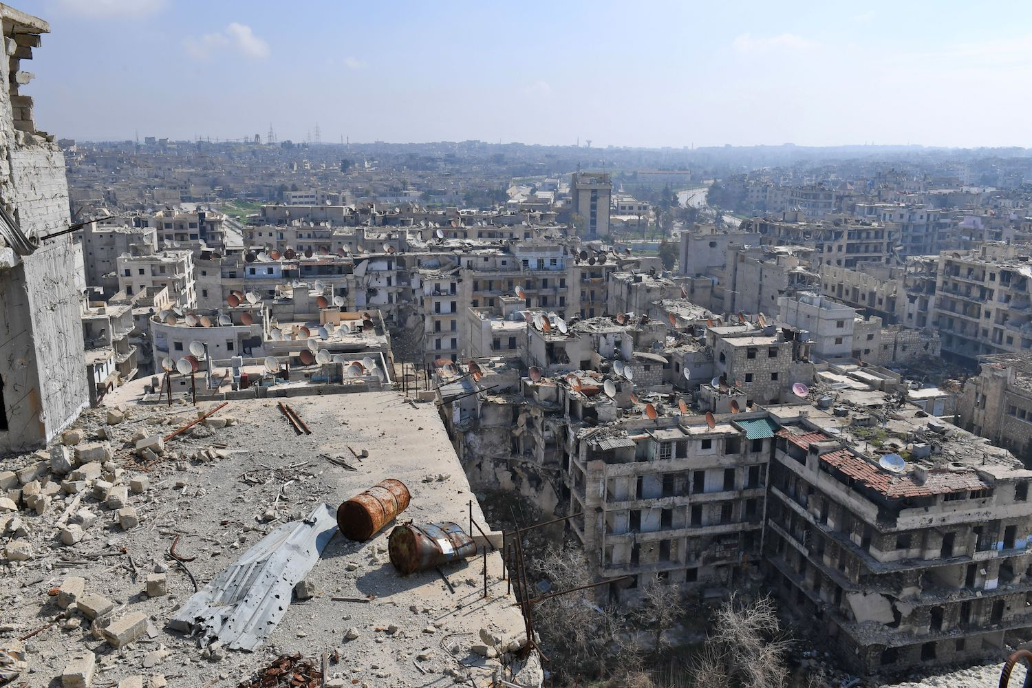 A  general view of Sheikh Maqsoud neighbourhood in the northern Syrian city of Aleppo taken on Feb. 23, after Syrian army forces replaced the Kurdish People's Protection Units (YPG) to assume control over the area. / AFP PHOTO / GEORGE OURFALIAN        (Photo credit should read GEORGE OURFALIAN/AFP/Getty Images)