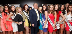 Donald Trump and Miss America contestants at Trump Tower, in New York on May 8, 2012.