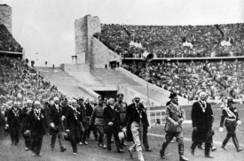 Adolf Hitler marches into the arena at the opening ceremony of the 1936 Olympic Games in Berlin. (E. E. Williams/Keystone/Getty Images)