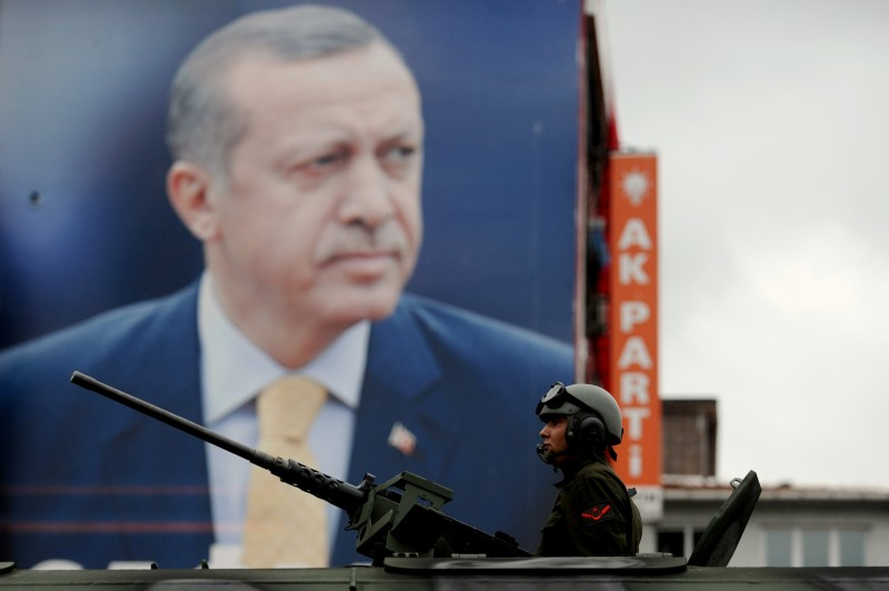 Turkish tanks pass front of a giant poster of Recep Tayyip Erdogan on August 30,2014 in Istanbul. (Ozan Kose/AFP/Getty Images)