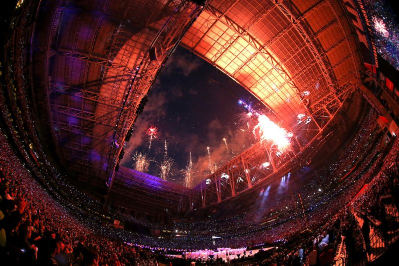 Fireworks explode as singer Katy Perry performs during the Super Bowl halftime show at the University of Phoenix Stadium in Glendale, Arizona, on Feb. 1, 2015. (Andy Lyons/Getty Images)