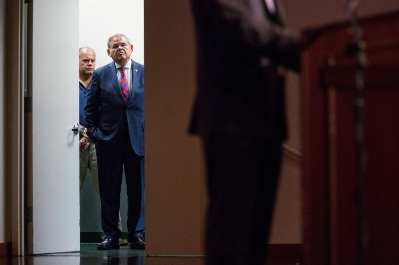 Sen. Bob Menendez (D-N.J.) waits off stage before announcing he will not support President Barack Obama's Iran nuclear deal on Aug. 18, 2015 in South Orange, New Jersey. (Andrew Burton/Getty Images)