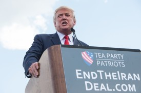 Then-Republican presidential candidate Donald Trump speaks at a rally organized by the Tea Party Patriots against the Iran nuclear deal in Washington, D.C., on Sep. 9, 2015. (Nicholas Kamm/AFP/Getty Images)