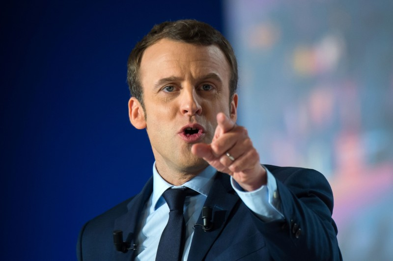 Emmanuel Macron gestures as he gives a speech during a campaign meeting in Marseille on April 1, 2017.  (Bertrand Langlois/AFP/Getty Images)