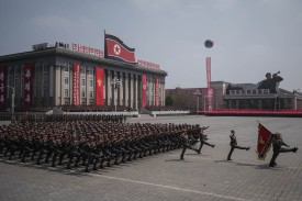 Korean People's Army soldiers watch a military parade in Pyongyang, North Korea, on April 15, 2017. (Ed Jones/AFP/Getty Images)