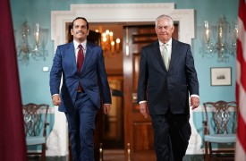 U.S. Secretary of State Rex Tillerson and Qatari Foreign Minister Sheikh Mohammed bin Abdulrahman Al Thani at the State Department in Washington on June 27, 2017. (Win McNamee/Getty Images)