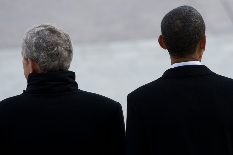 Former U.S. Presidents Barack Obama and George W. Bush stand side by side after Obama was sworn in as the 44th president in Washington on Jan. 20, 2009. (Saul Loeb-Pool/Getty Images)