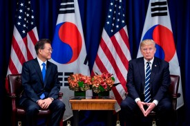 South Korean President Moon Jae-in and U.S. President Donald Trump during a meeting at the United Nations General Assembly in New York City, on Sep. 21, 2017. (Brendan Smialowski/AFP/Getty Images)