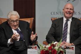 Henry Kissinger with National Security Advisor H.R. McMaster at The Center for Strategic and International Studies in Washington, DC on October 10, 2017. (Chip Somodevilla/Getty Images)