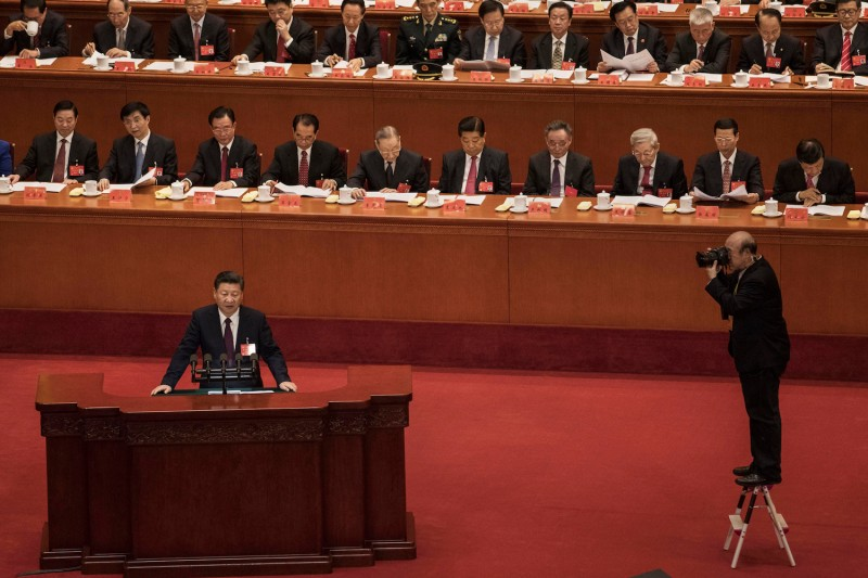Chinese President Xi Jinping speaks at the opening session of the 19th Communist Party Congress in Beijing on Oct. 18, 2017. (Kevin Frayer/Getty Images)
