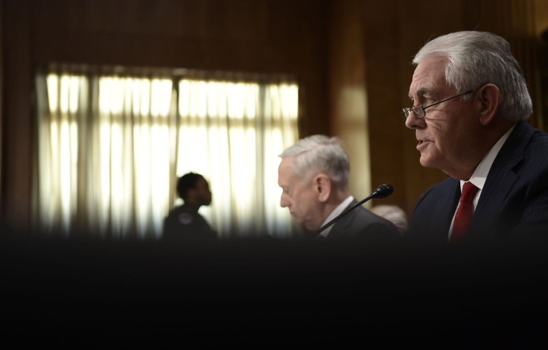 U.S. Secretary of State Rex Tillerson testifies before the Senate alongside Secretary of Defense James Mattis on Oct. 30, 2017. (Brendan Smialowski      /AFP/Getty Images)