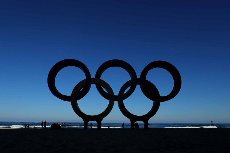 PYEONGCHANG-GUN, SOUTH KOREA - JANUARY 12: The Olympic Rings on the beach at Gangneung ahead of the Pyeongchang 2018 Winter Olympics on January 12, 2018 in Pyeongchang-gun, South Korea. (Photo by Richard Heathcote/Getty Images)