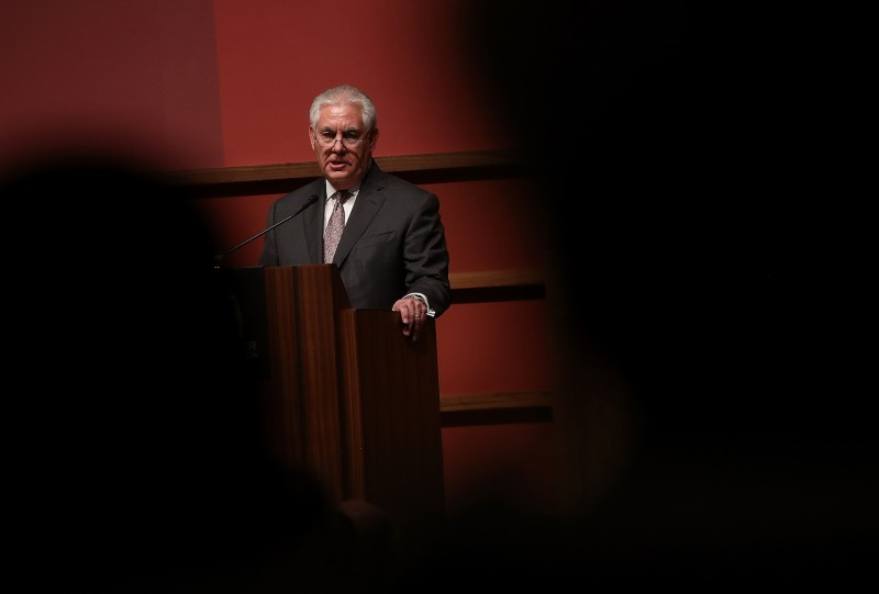 U.S. Secretary of State Rex Tillerson speaks at Stanford University on Jan. 17, 2018 in California. (Justin Sullivan/Getty Images)