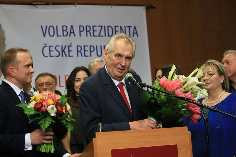 Czech President Milos Zeman celebrates his re-election on Jan. 27 in Prague. (Radek Mica/AFP/Getty Images)