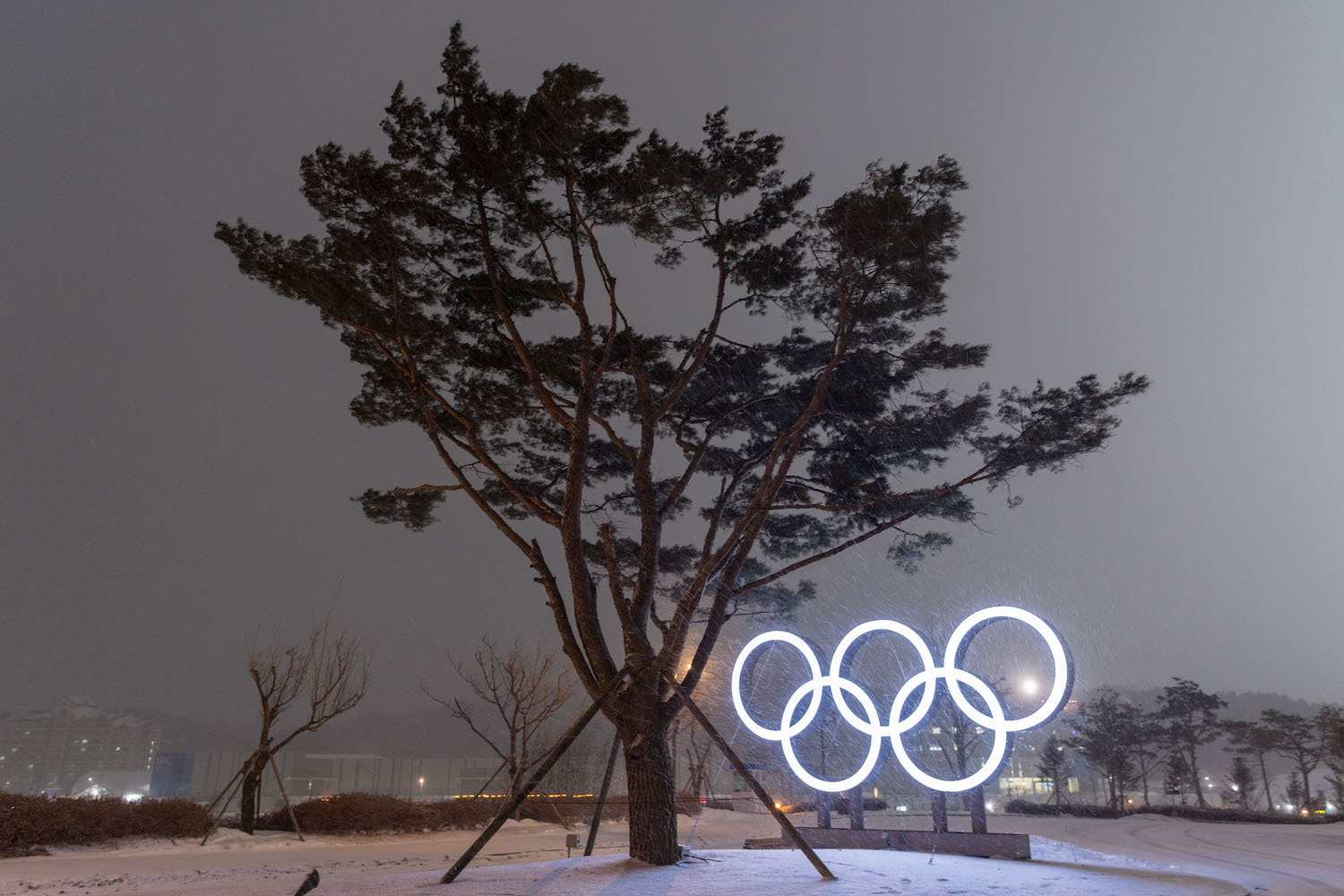 TOPSHOT - This photo taken on January 30, 2018 shows snow falling as the Olympic Rings are illuminated at night in PyeongChang ahead of the Winter Olympic Games. The 2018 Winter Olympic Games in South Korea will take place from February 9 to 25. / AFP PHOTO / François-Xavier MARIT        (Photo credit should read FRANCOIS-XAVIER MARIT/AFP/Getty Images)