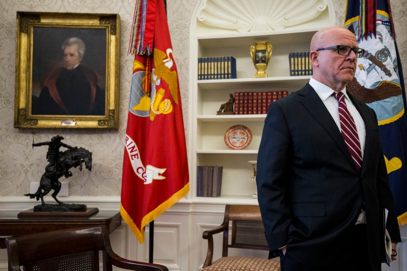 H.R. McMaster, national security advisor, listens as U.S. President Donald Trump meets with North Korean defectors in the Oval Office of the White House on February 2, 2018 in Washington, D.C. (Photo by Zach Gibson-Pool/Getty Images)