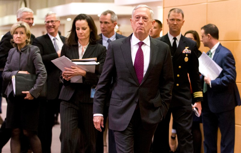 US Secretary for Defense James Mattis in Brussels on February 14, 2018. (VIRGINIA MAYO/AFP/Getty Images)